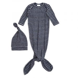 Aden & Anais Snuggle Knit Gown and Hat Navy Stripe