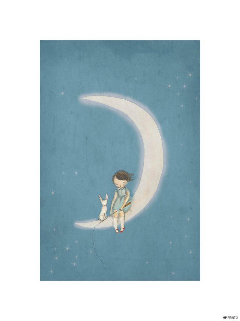 Michelle Pleasance Boy on the Moon Art Print