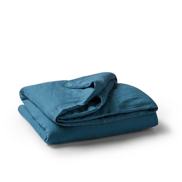 Minimrkt French Flax Linen Duvet Cover Legion Blue