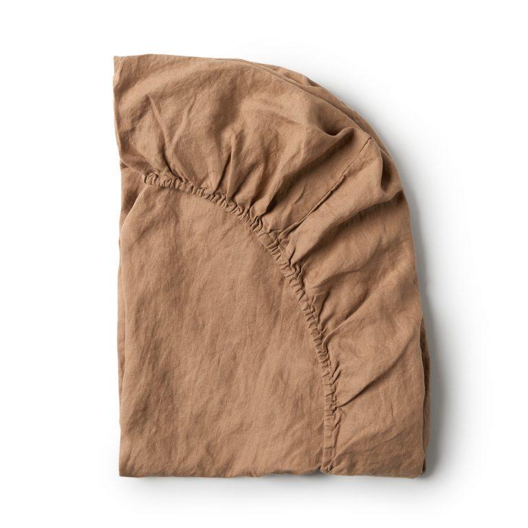 Minimrkt French Flax Linen Fitted Sheet Chestnut