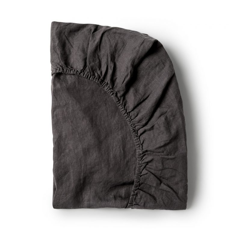 Minimrkt French Flax Linen Fitted Sheet Charcoal