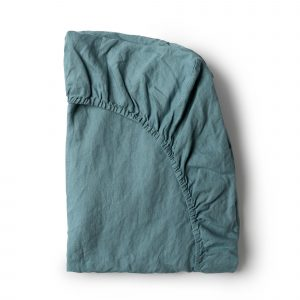 Minimrkt French Flax Linen Fitted Sheet Dusty Blue