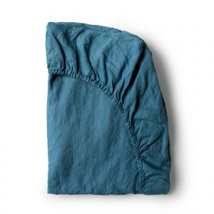 Minimrkt French Flax Linen Fitted Sheet Legion Blue