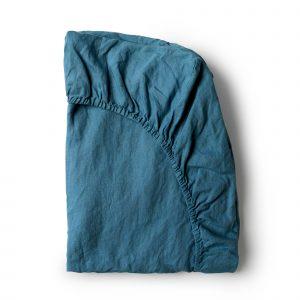 Minimrkt French Flax Linen Fitted Sheet Legion Blue