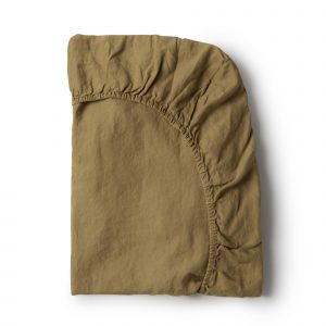 Minimrkt French Flax Linen Fitted Sheet Moss