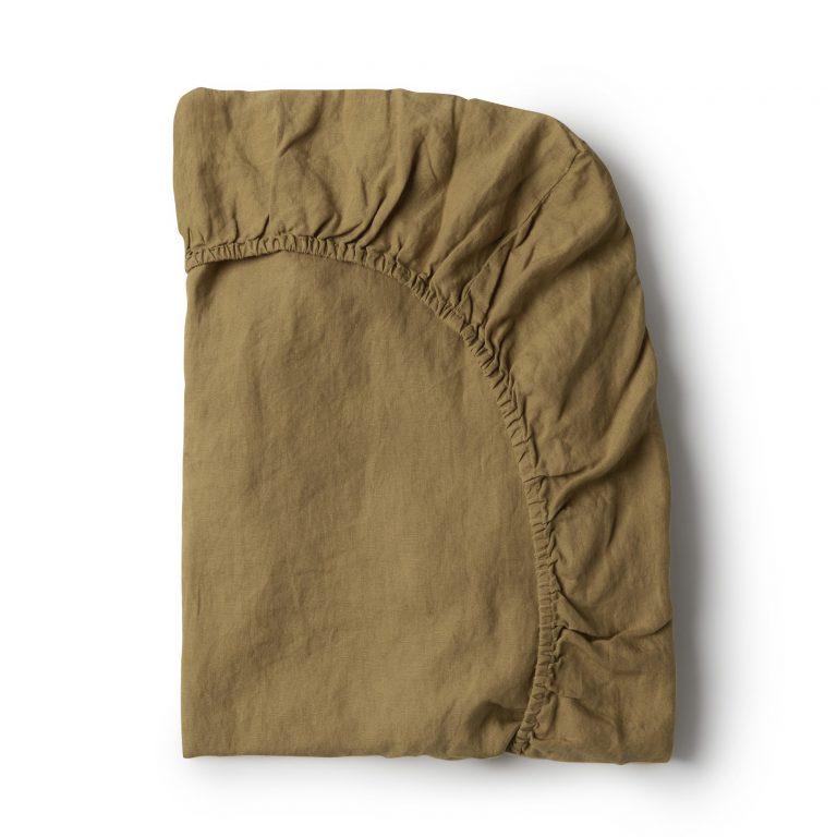 Minimrkt French Flax Linen Fitted Sheet Moss