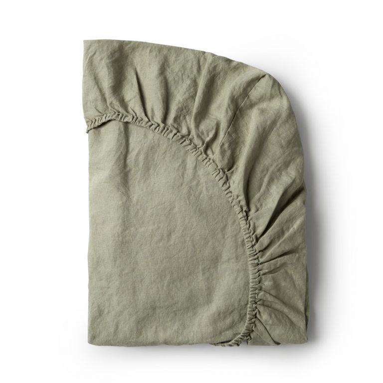 Minimrkt French Flax Linen Fitted Sheet Putty