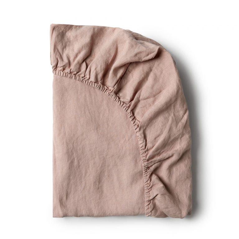 Minimrkt French Flax Linen Fitted Sheet Rose