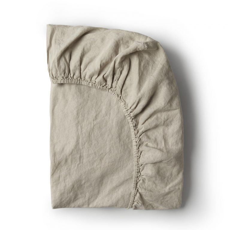 Minimrkt French Flax Linen Fitted Sheet Smoke