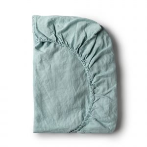 Minimrkt French Flax Linen Fitted Sheet Sea Foam