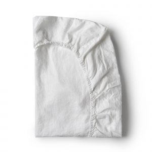 Minimrkt French Flax Linen Fitted Sheet White
