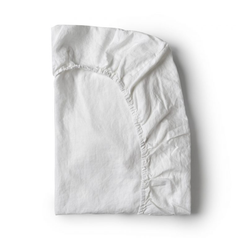 Minimrkt French Flax Linen Fitted Sheet White