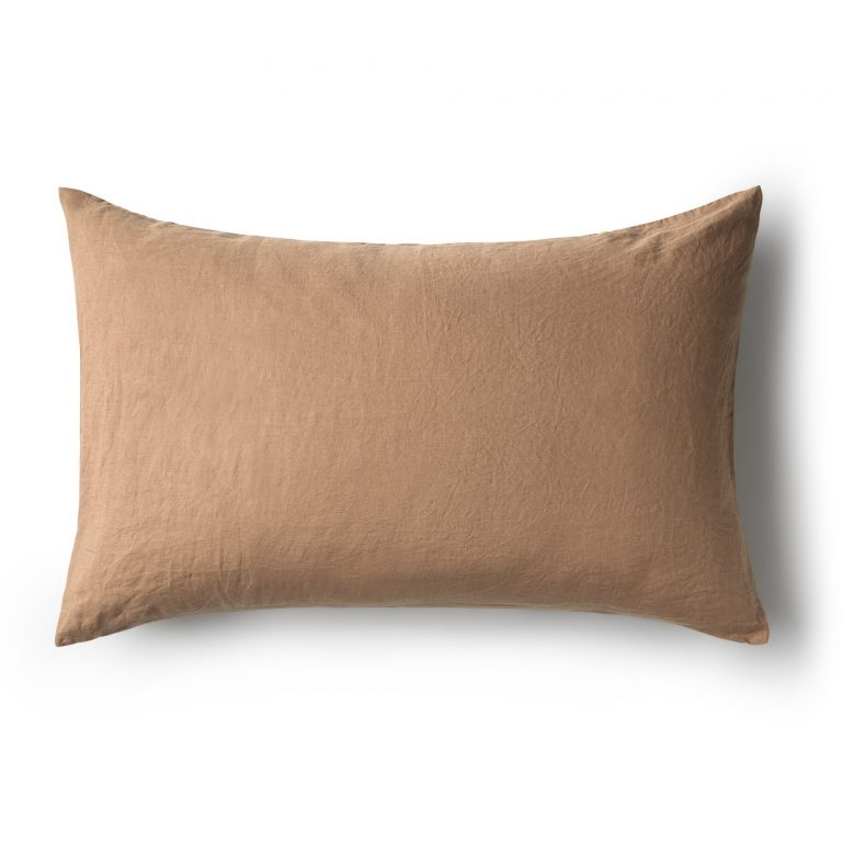 Minimrkt French Flax Linen Standard Pillowcase Chestnut