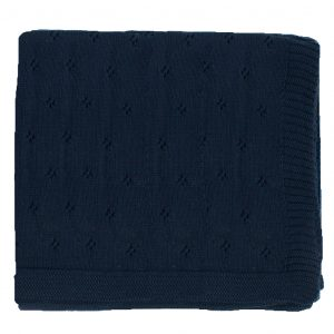Zestt Organics Organic Cotton Clover Knit Baby Blanket Navy